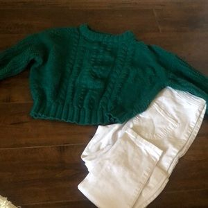 Teal crop sweater